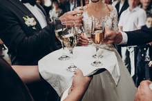 Glasses Of Champagne On Tray, ...