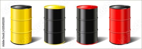 Foto set realistic colorful industrial metal barrels
