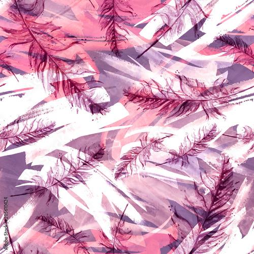 Akwarela bezszwowe tło z piękne rysunki różowy, fioletowy, bzu piór. Vintage ilustracji z abstrakcyjnym klejem różowy farby. Do tekstyliów, materiałów, tapet i innych wzorów.