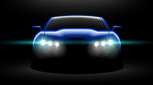 Realistic Blue Sport Car View With Unlocked Headlights In The Dark