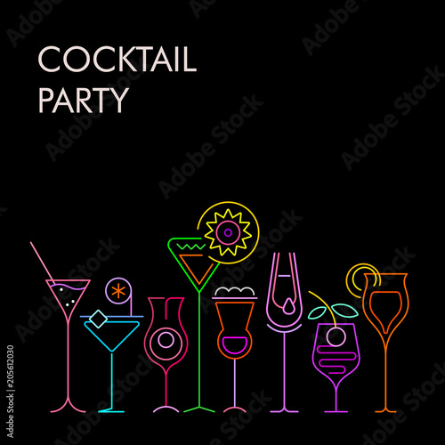 Door stickers Abstract Art Cocktail Party neon background
