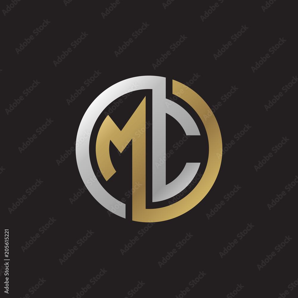 Fototapeta Initial letter MC, looping line, circle shape logo, silver gold color on black background