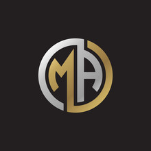 Initial Letter MA, Looping Line, Circle Shape Logo, Silver Gold Color On Black Background