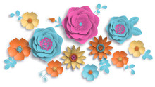 Paper Art, Summer Flowers On A...