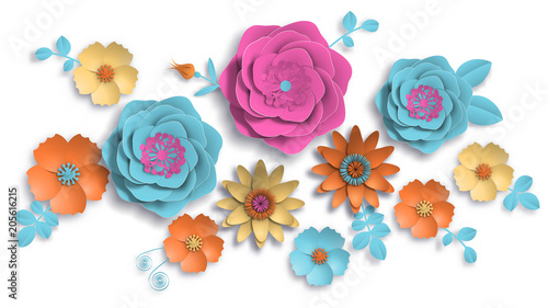 Paper Art Summer Flowers On A White Background With Leaves Cut Of