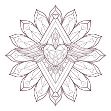 Line Art Of Circular Mandala With A Heart Diamond And Wings