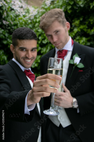 Gay Couple At Wedding Reception Toast Being Married Buy This Stock