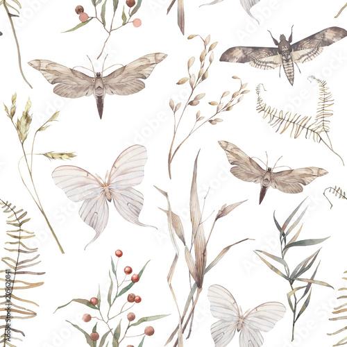 akwarela-motyl-i-lato-pole-ziola-wzor-recznie-malowane-tekstury-z-elementami-botanicznymi-rosliny-trawa-jagody-paproc-liscie-naturalne-powtarzajace-sie-tlo