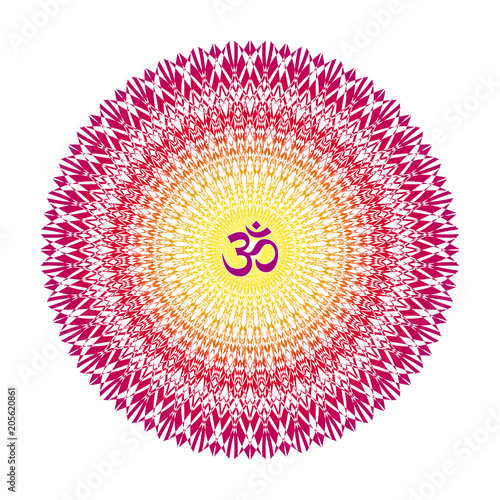 Photo  Mandala with a sign of Aum (Om, Ohm) in yellow-orange red and purple colors