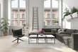 Leinwanddruck Bild - Spacious apartment living room with potted plants