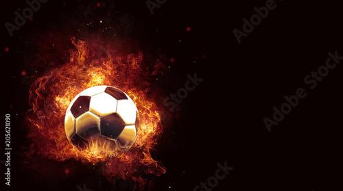 Fotografía  Fiery soccer ball engulfed in hot flames