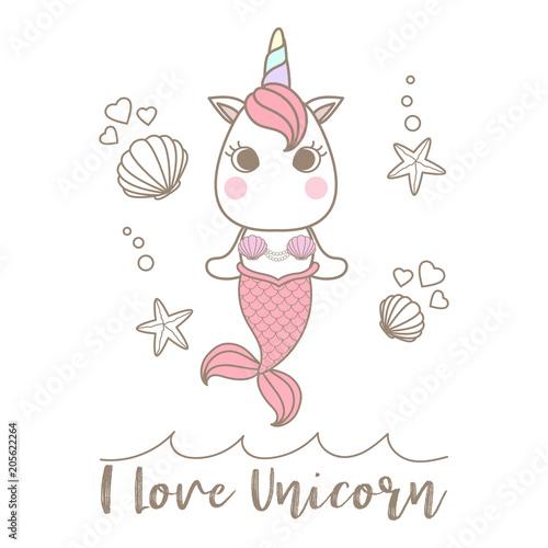 Photographie  Isolated cute little unicorn mermaid