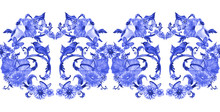 Seamless Monochrome Texture With Fancy Arabesque Of Swirly Ornaments And Lovely Birds. Watercolor Painting.