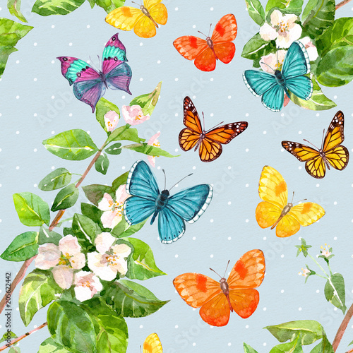 Tuinposter Vlinders vintage seamless texture with flying butterflies. watercolor painting