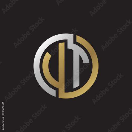 Photo  Initial letter VT, UT, looping line, circle shape logo, silver gold color on bla