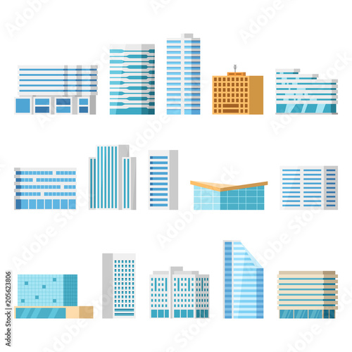 Modern city buildings, isolated vector flat cartoon set. Tower and office, city architecture, house business apartment Wall mural