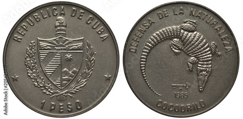 Cuba Cuban coin one peso 1985, arms, denomination below, wildlife protection, cr Canvas Print