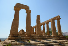 Greek Temple Of Juno (Hera) In Ancient Akragas Agrigento Sicily
