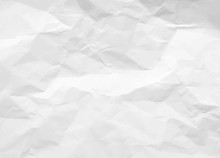 Crumpled Paper Texture. White Battered Paper Background. White Empty Leaf Of Crumpled Paper. Torn Surface Of Letter Blank. Vector Illustration