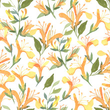 Seamless Pattern Of Watercolor Yellow Lonicera Flowers On White Background. Flowers For Wedding Cards.