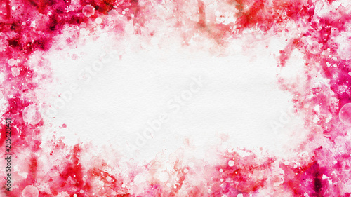Colorful template with red watercolor border Canvas Print