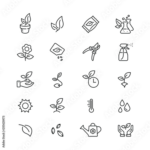 Cuadros en Lienzo Plants related icons: thin vector icon set, black and white kit