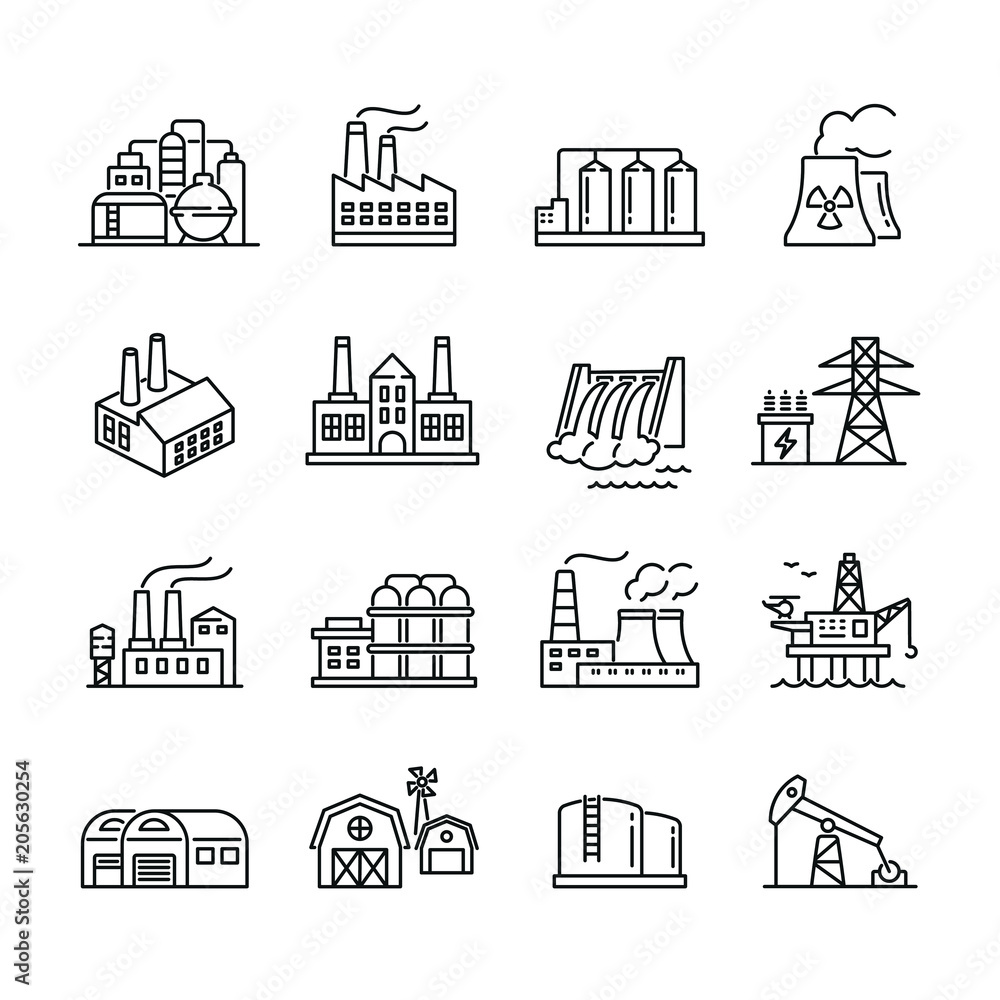 Fototapeta Industrial factory buildings icons: thin vector icon set, black and white kit
