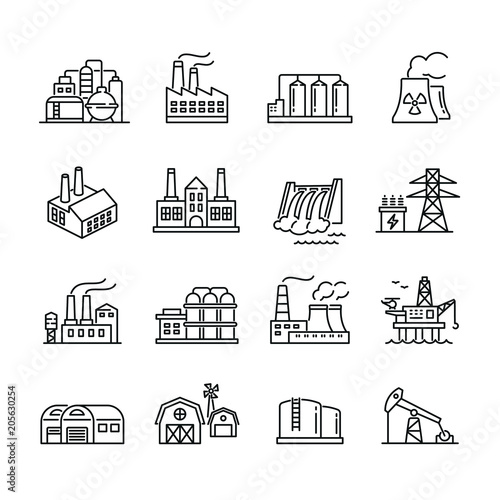 Industrial factory buildings icons: thin vector icon set, black and white kit Wallpaper Mural