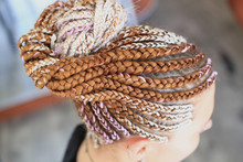 African Hairstyle Brady In Tail With Kanekalon On Girl's Head Close-up, Hair Texture
