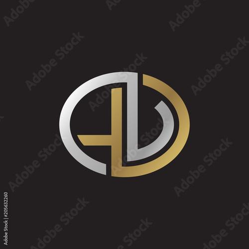 Initial Letter Lv Lu Looping Line Ellipse Shape Logo Silver Gold