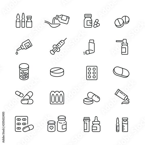 Fotografija Medicine drugs pills: thin vector icon set, black and white kit