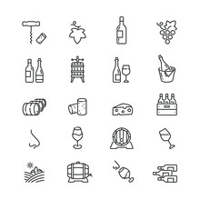 Wine Related Icons: Thin Vecto...