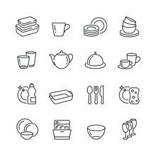 Dish And Plates Related Icons:...