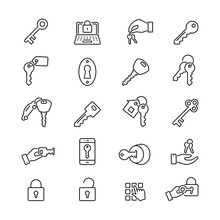 Key And Lock Related Icons: Thin Vector Icon Set, Black And White Kit