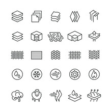 Fabrics And Layered Material Related Icons: Thin Vector Icon Set, Black And White Kit