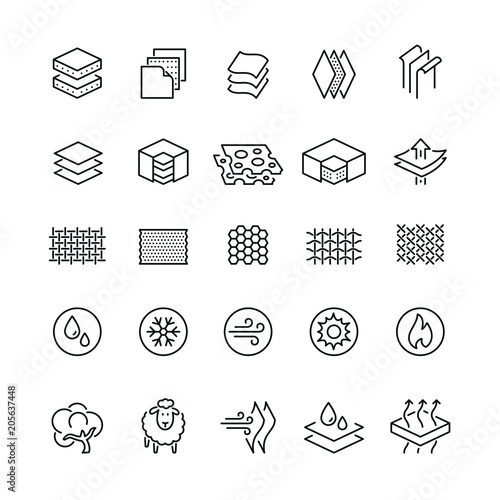 Canvas Print Fabrics and layered material related icons: thin vector icon set, black and whit