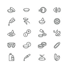 Eye Lens Related Icons: Thin Vector Icon Set, Black And White Kit