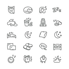 Sleep Related Icons: Thin Vect...