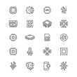 Electronics related icons: thin vector icon set, black and white kit
