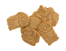 Top View Of A Serving Of Vanilla Animal Cookies Isolated On A White Background.
