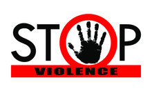 """Symbol Or Sign Stop Violence. Red Prohibition Sign Over Black Hand And Red Line With Text """"stop Violence"""". Abstract Vector Illustration."""