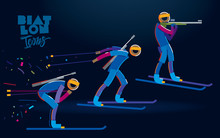 Biathlon. Vector Color Line Ic...