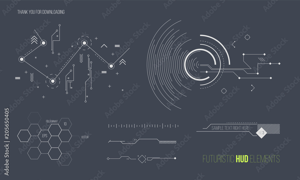 Fototapety, obrazy: Futuristic HUD elements vector collection. Space technology background graphic design objects.