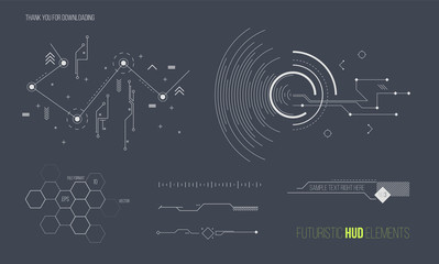 Futuristic HUD elements vector collection. Space technology background graphic design objects.