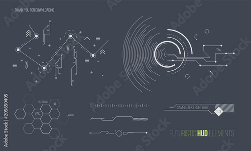 Fototapeta Futuristic HUD elements vector collection. Space technology background graphic design objects. obraz