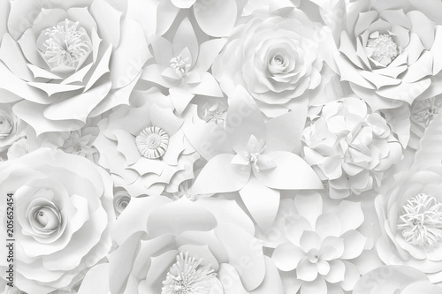 Fotobehang Bloemen White paper flower wall, floral background, wedding card, greeting card template