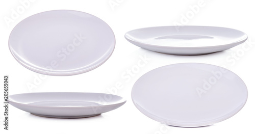 Set white plate isolated on white background Canvas Print