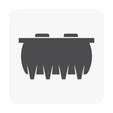 Septic Tank Vector Icon. That Sanitation Equipment Part Of Drainage System For Installation Or Construction In Underground For Sewage Or Wastewater Treatment By Bacteria For Home Toilet And Bathroom.