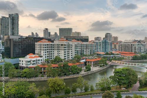 Poster Aziatische Plekken Singapore Cityscape along Robertson Quay