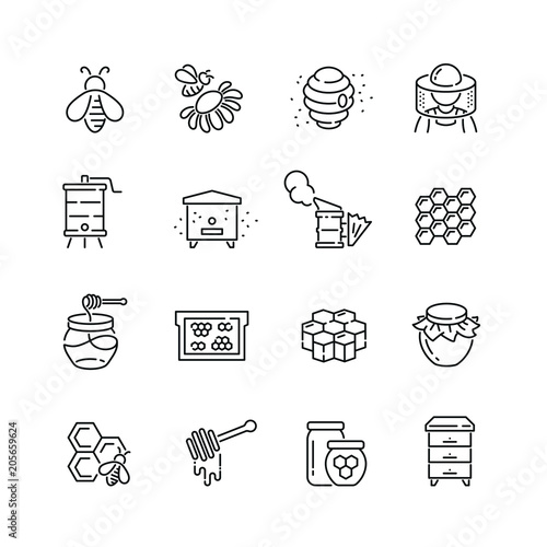 Honey and beekeeping related icons: thin vector icon set, black and white kit Canvas Print